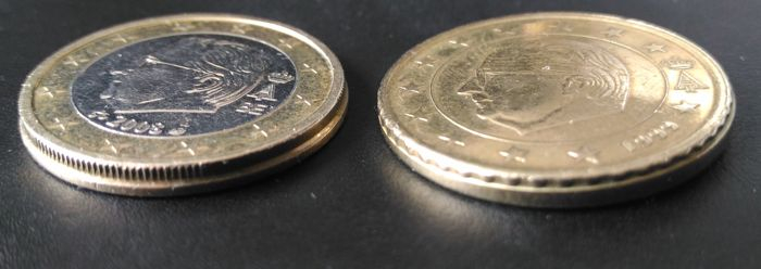 Belgium - 50 Cent 1999 and 1 Euro 2008 with a mistake on the edges