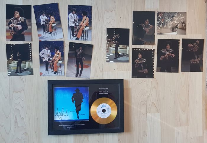 Michael Jackson auction; framed gold disc smooth criminal with pre printed signature and 12 real pictures of American Bandstand 1972