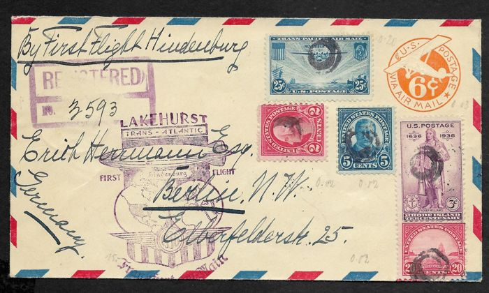 USA 1936 - Zeppelinletter First flight LZ 127 Hindenburg Lakehurst - Frankfurt am Main