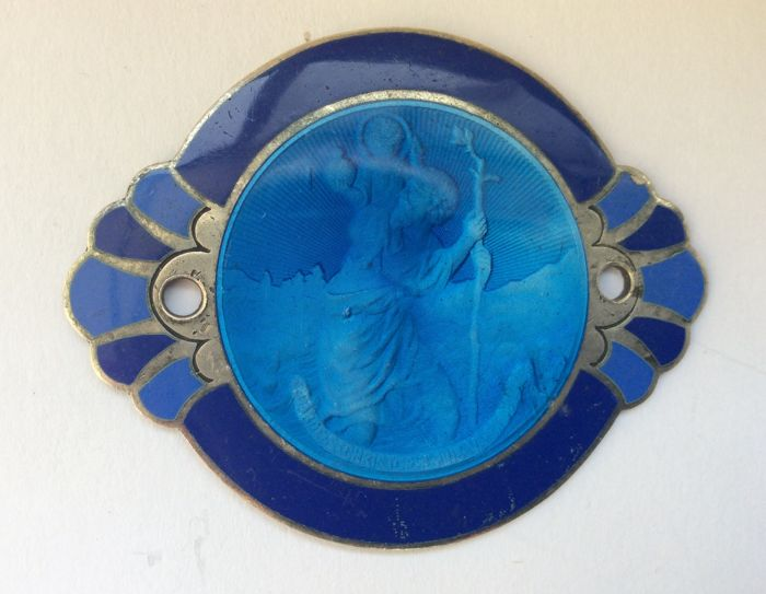Beautiful French Art Deco St Christopher  Car Badge/ Travel Protector in Hallmarked Silver and Blue Enamel.