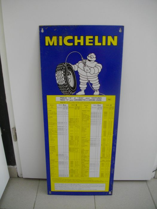 Old plate - pressure of Michelin tires 1968 - France