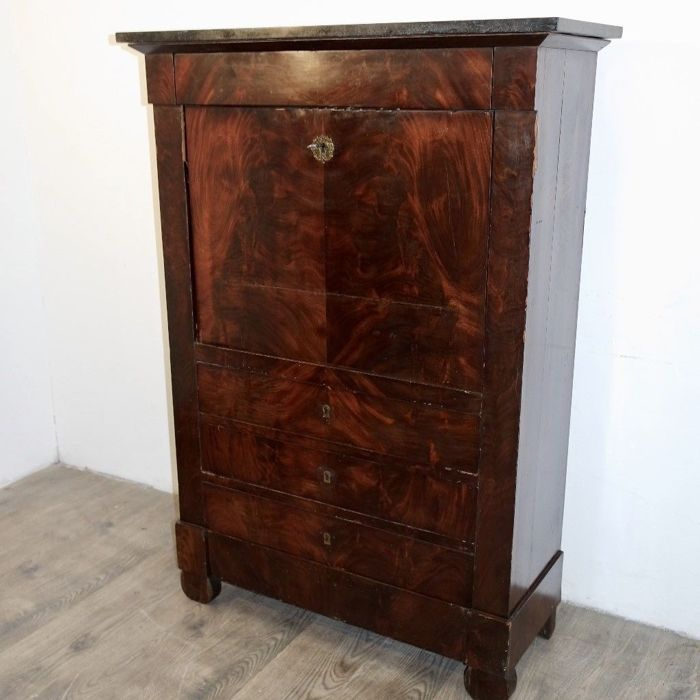 Antique and elegant 1840 secretaire, in mahogany and mahogany feather Top in French black marble
