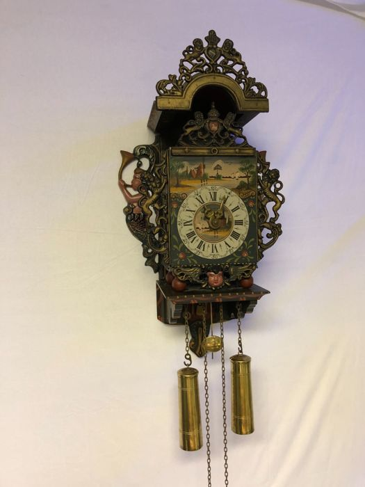 Frisian bracket clock, circa 1970, in a good condition strikes every half hour on bell