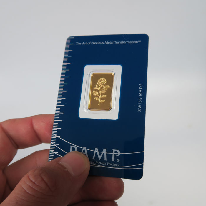 Switzerland - Pamp Suisse - 5 grams 999.9 gold / gold bar - rose - in blister packaging - with certificate and serial number