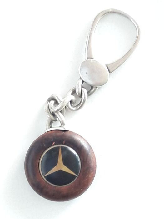 Old original Mercedes-Benz vintage key ring made of 925 sterling silver and burl wood