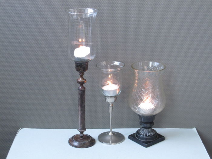 Three old lead crystal wind lamps