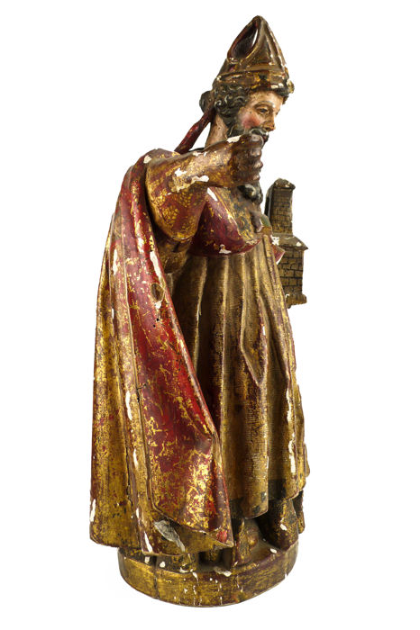 St. Ambrose - magnificent polychromed wood carving - 18th century or earlier