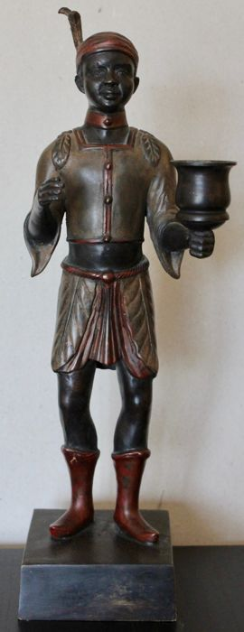 Bronze blackamoor candlestick, 20th century