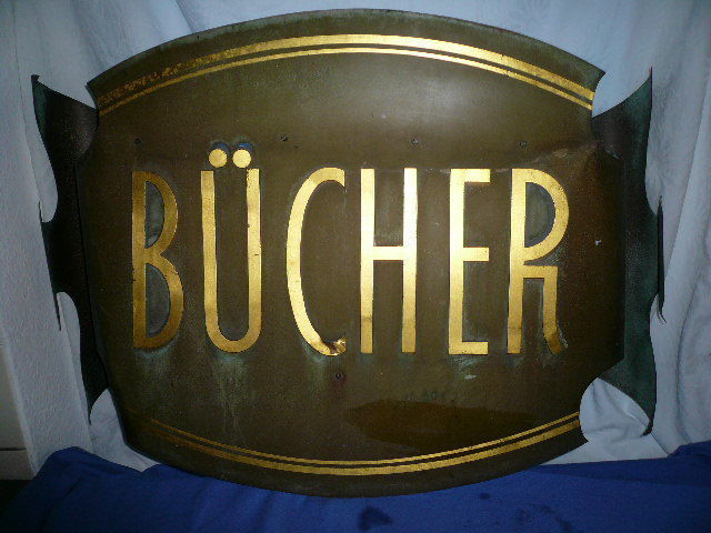 Enamel sign - BÜCHER - tin - approx. 84 x 60 cm