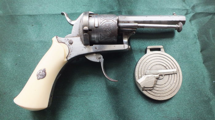 Superb pin fire revolver ivory butt