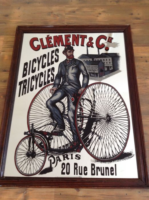 "Vintage ""Clement & cie bicycles Paris"" reclame spiegel"