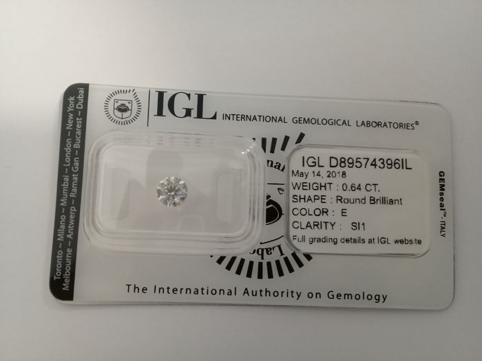 IGL 0.64 E SI1 Natural Diamond  - Round Brilliant 3x EX  ****No Reserve Price****