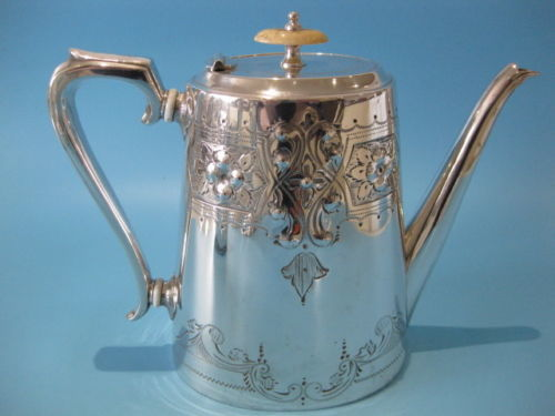 Antique silver plated Coffee Pot, in Georgian style, by William Hutton, ca. 1860