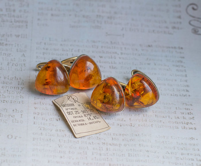 Set of 2 pair vintage silver and Baltic Amber cufflinks
