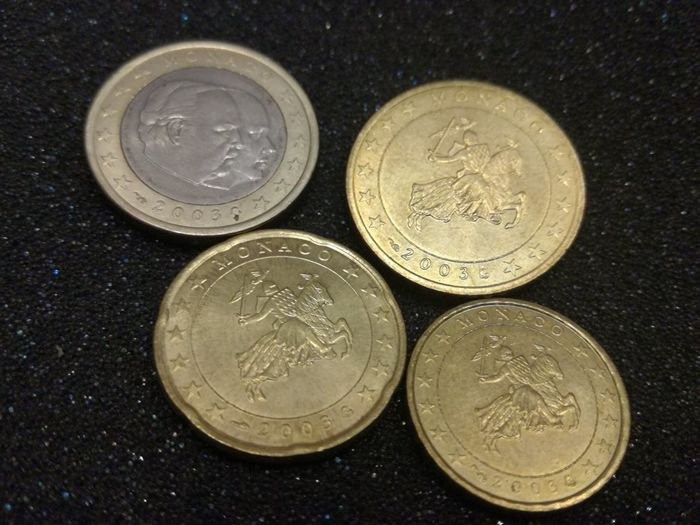 Monaco – 1 Euro, 50 cents, 20 cents and 10 cents 2003