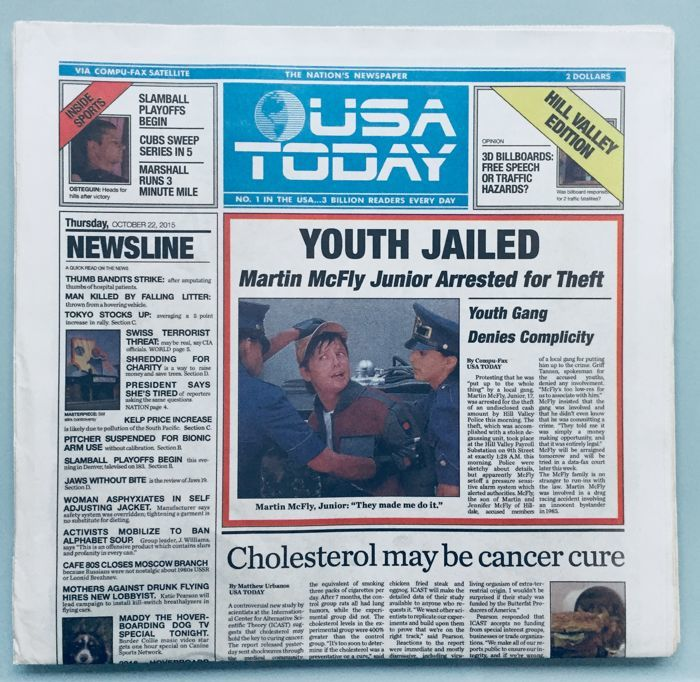 Back to the Future - USA Today October 22, 2015 Newspaper - Mint Condition - Very Limited Collector's Edition Replica