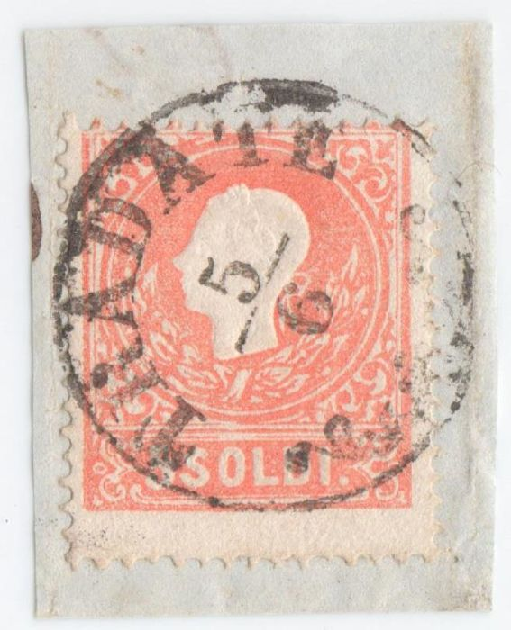 Lombardy-Venetia 1859-5 - 5 Soldi Red with Tradate cancellation from the time of the 2nd Provisional Government - Sass. no. 30