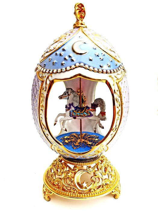 Carousel Collector - House of Fabergé - porcelain - Rhinestones of Swarovski - Gold plated finish 24 k - (20 cm / 400 g)
