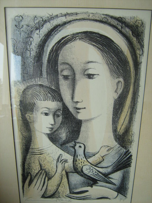Onbekend - Madonna with child and bird