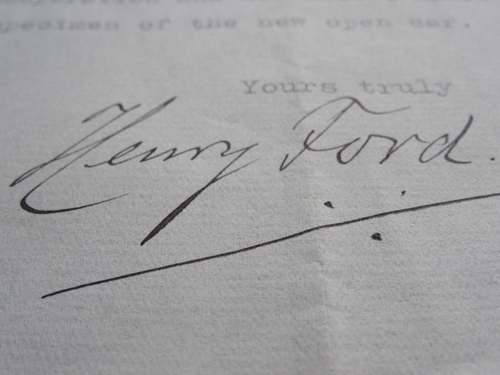 Original personal and signed letter from Henry Ford to H.M. de Burlet