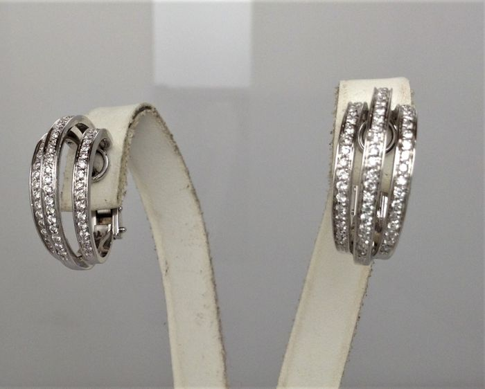 Semicircule earrings in 18 kt white gold - diamonds - new, never worn - handmade in Italy