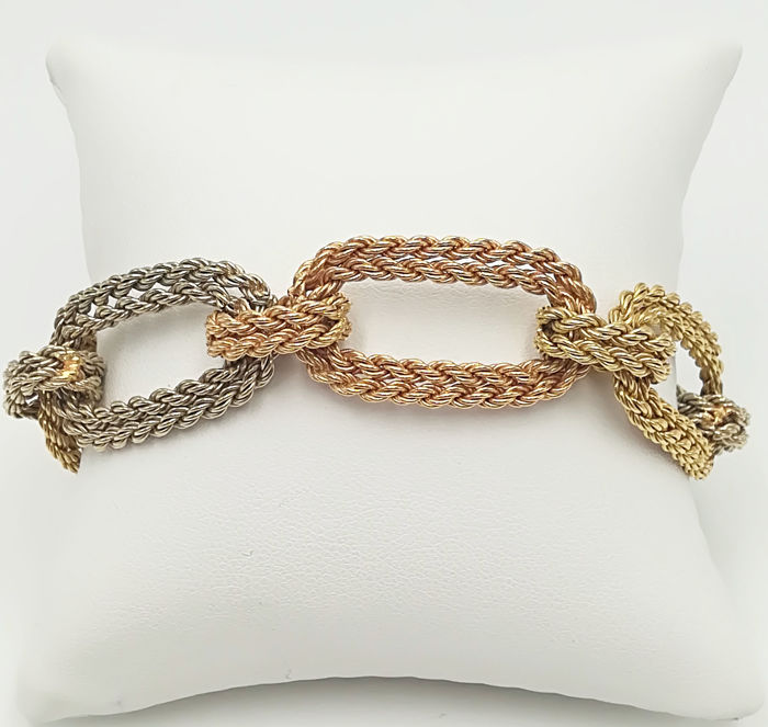 18 kt yellow, white and rose gold bracelet, semi-rigid links, length: 19.50 cm, total weight: 45.47 g