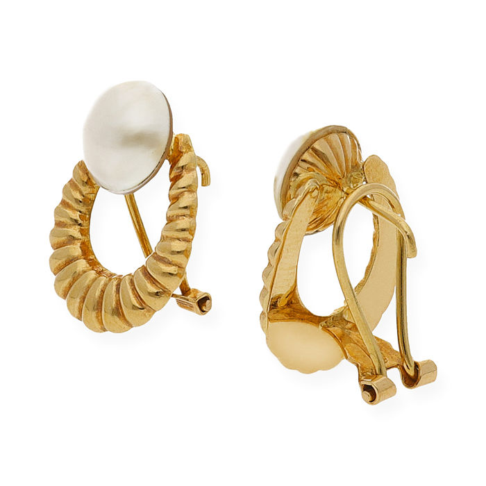 18 kt yellow gold - earrings - mabe pearls - earring height 19.80 mm