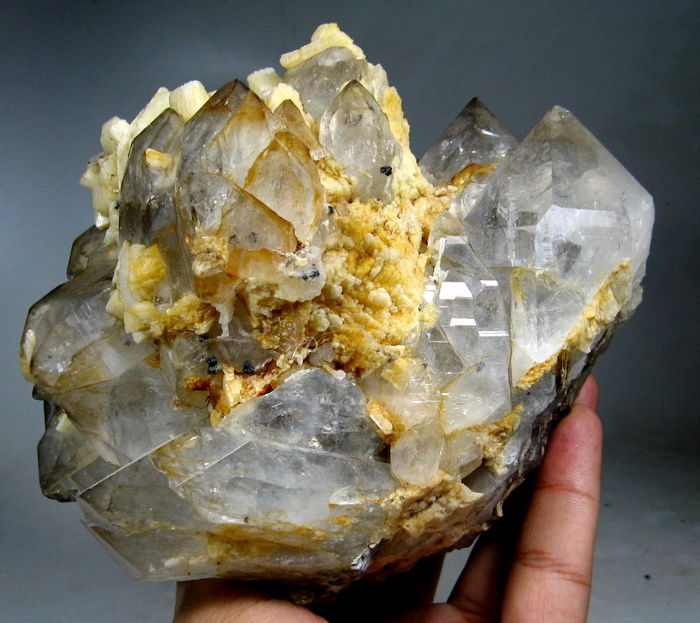 Lovely Rare Columbite On Cathedral Quartz With Microcline Specimen - 125 x 95 x 110 mm - 1468g