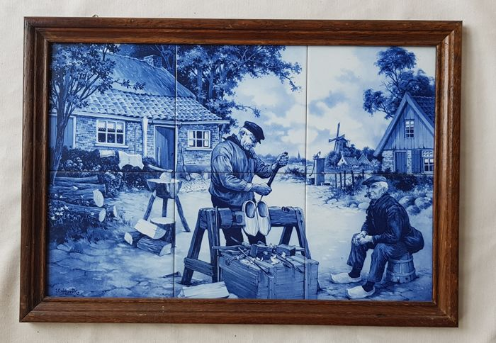 Magnificent six-piece tile panel or serving tray- Depiction of a clog maker  - the Netherlands - Delft Blue - 20th century
