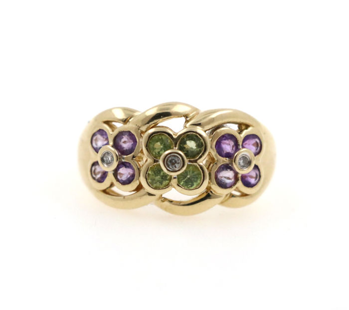 14 kt. Yellow gold - Ring - 0.06 ct Diamond - Amethyst, Tourmalines