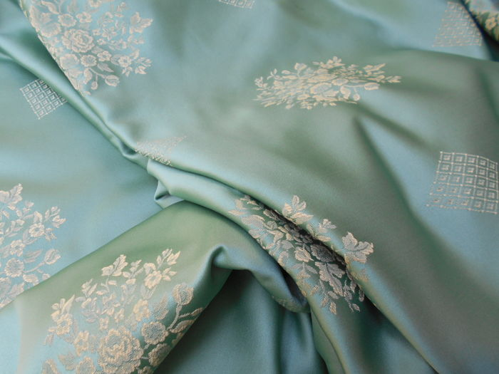 5 m Damask Jacquard Fabric Color mint green - Textiles - 1975-2000