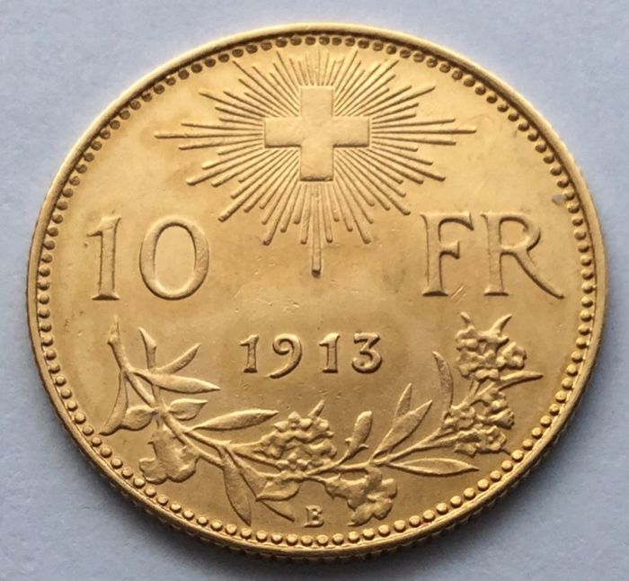 Switzerland - 10 Francs 1913-B Vreneli - Gold