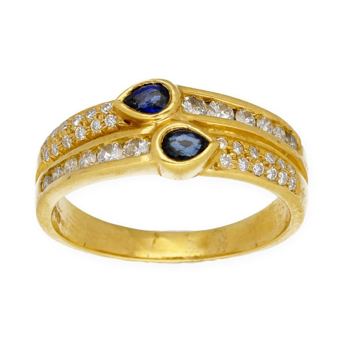 Yellow gold 18 kt - Cocktail ring - Diamonds of 0.90 ct - Sapphires of 0.40 ct - Cocktail ring size 14 (SP)