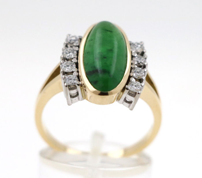 18 kt. Gold, White gold - Ring - 0.60 ct Diamond - Chrysopras