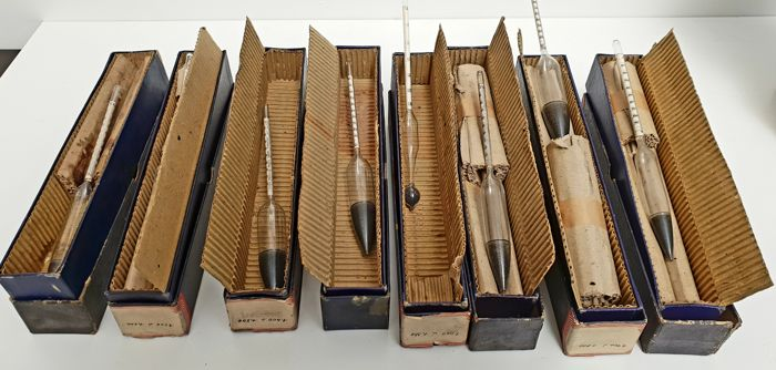 Lot Van 8 Towers Streamline Hydrometers 1950 In Originele Doos