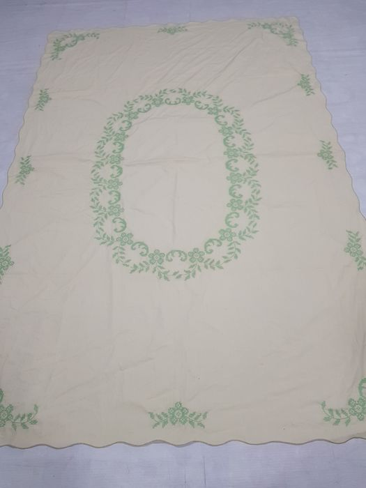 Vintage hand Embroidery Kashmiri Table cover 216 cm x 144 cm.