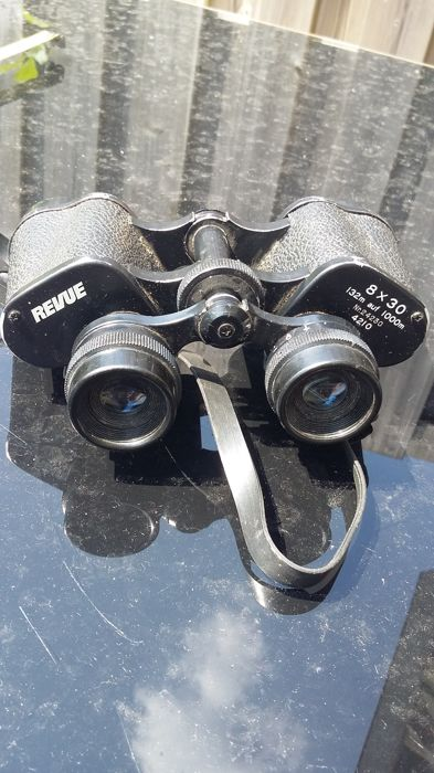 Old Revue prism binoculars, height 12 cm, from the 1960s