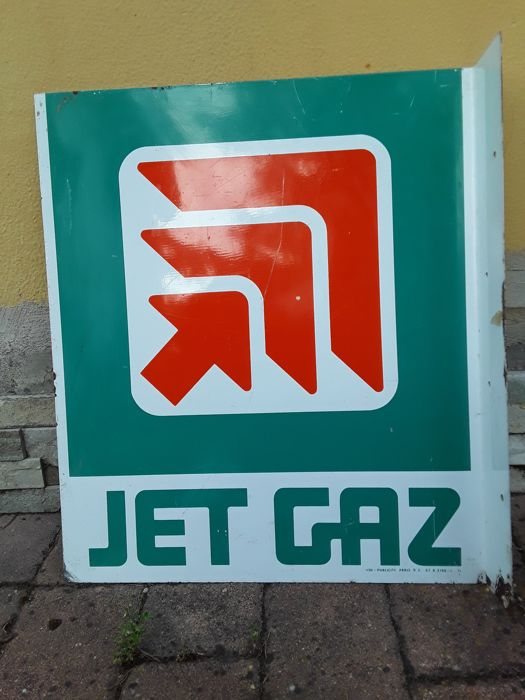 Double-sided advertising plate for JET GAZ