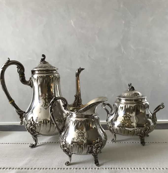 Silver plated metal coffee set, hallmarked CAILAR BAYARD
