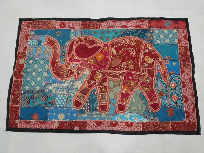 Vintage Pictorial tapestry Rajasthani Indian Handmade  92 cm x 144 cm