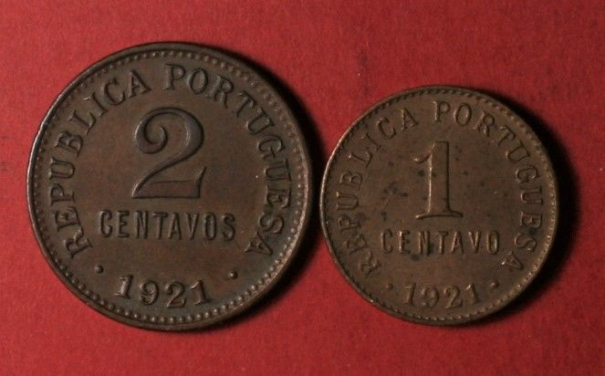 Portugal, Republic – 1 & 2 Centavos – 1921 – 2 Items – Bronze – Rare