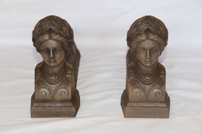 Pair of fireplace andirons, 19th century