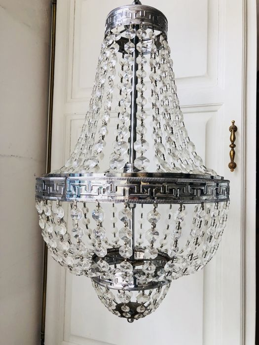 A crystal chandelier with pendants, 2nd half 20th century