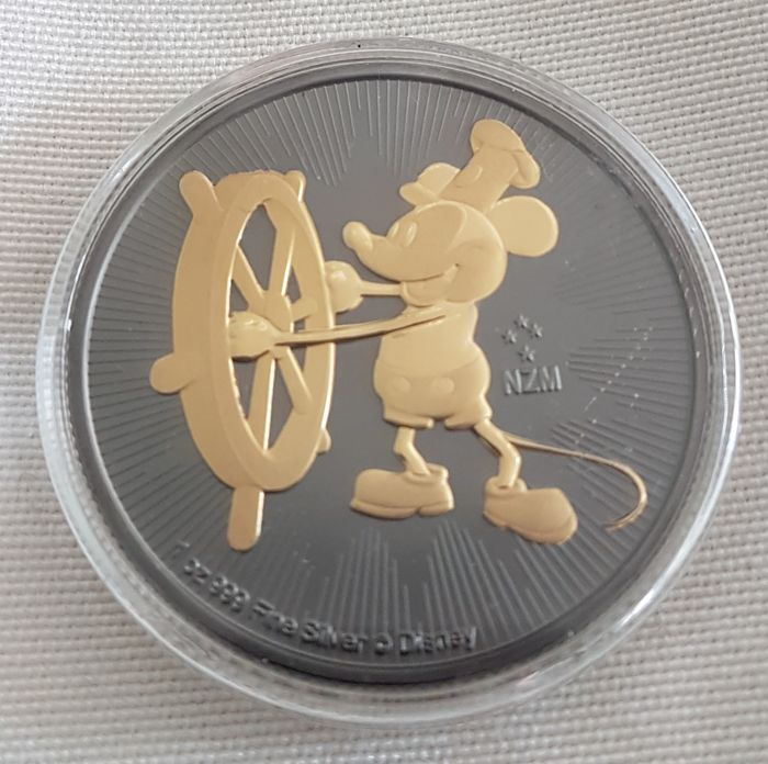 Niue 2 Dollars 2017 Mickey Mouse Steamboat Willie Ruthenium