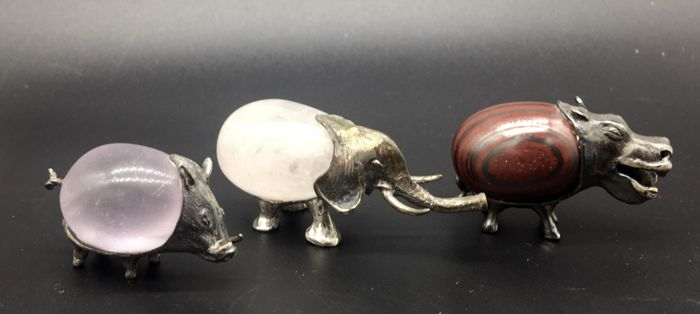 Three miniature animals in sterling silver 925 and semi-precious stones - Italy, 20th century