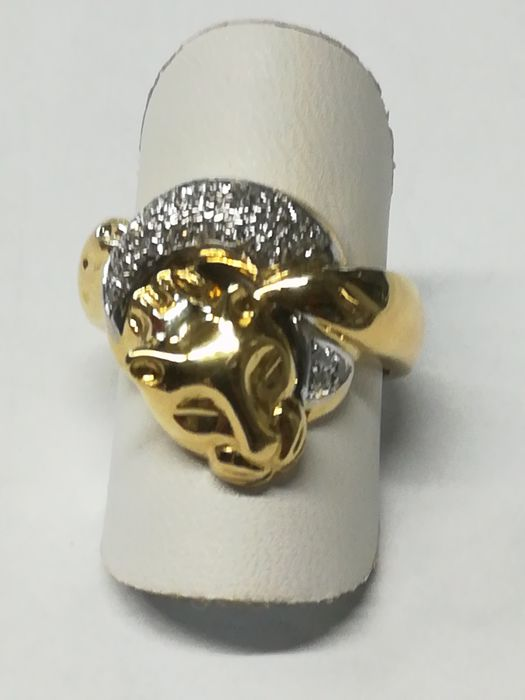 18 kt gold ring with 24 diamonds - Ring size 15/55