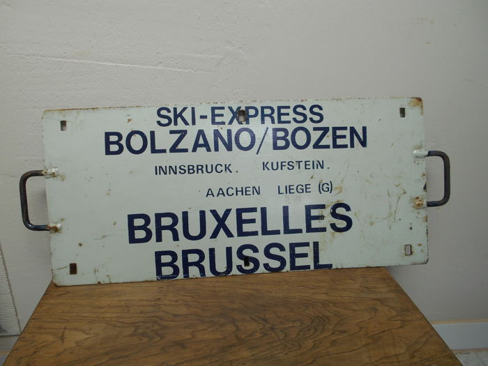 "Metal advertising sign - ski - express Brussels ""Bolzano Bozen"""