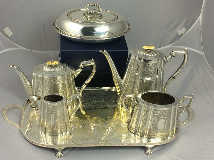 Engraved .Silver plated coffee set with tray &silver plated entree dish. Made in Great Britain.