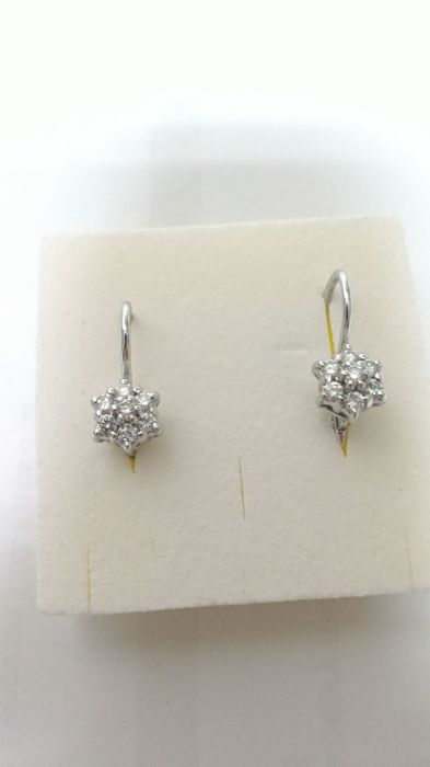 Earrings in 18 kt white gold with 14 brilliant cut diamonds totalling 0.50 ct, VS - H