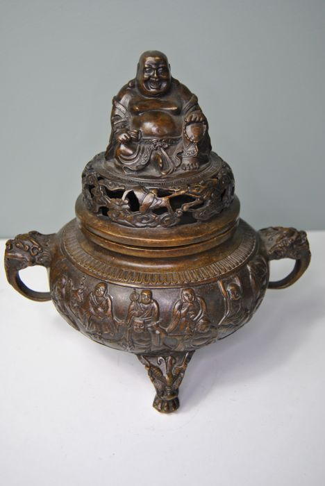 Bronze incense pot - China - late 20th / early 21st century